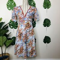 Review Australia Mod Pin Up Floral Back Tie Dress 10 Womens Empire Novelty Mod