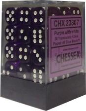 Chessex Dice d6 Sets Purple w/ White Translucent 36 12mm Six Sided Die CHX 23807