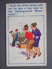 R&L Postcard: Comic, Donald McGill 1625 D Constance, Toilet Cleaner Underground
