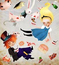 'Alice and the Hatter' Art Print 11x17 Alice in Wonderland Artwork White Rabbit