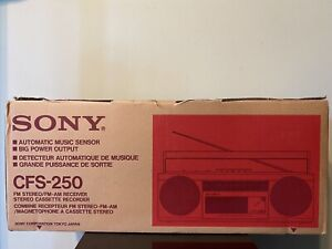 1980s Sony CFS-250 AM/FM Portable Boombox Cassette Player Radio Recorder New