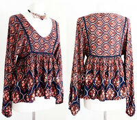 NEW Navy Rust Brown V-Neck BOHO Crochet Lace Trim Babydoll Peasant Blouse Top