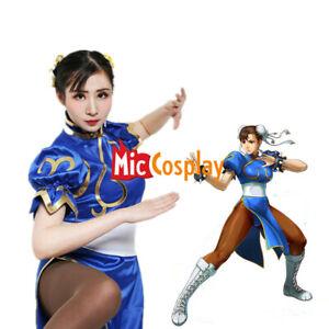 Chun Li Cosplay Costume for Adult Blue Cheongsam Halloween Dress Women Outfit