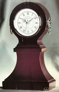 """Wallace Silversmiths Burgundy Wooden Table Clock With Lion Head Decoration 11.5"""""""