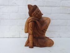 Magnifique Bouddha assis pensant en bois - 60 cm - méditation zen boudhisme Rare