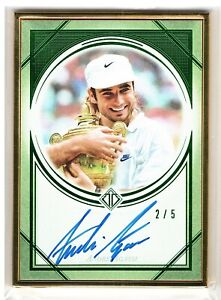 ANDRE AGASSI 2019 2020 TOPPS TRANSCENDENT TENNIS GOLD FRAMED AUTO CARD 2/5
