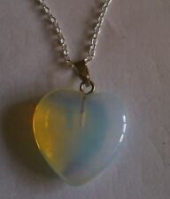 Opalite Healing Crystal heart pendant.925 Sterling chain.UK SELLER.NEW