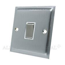 Slimline Satin Brushed Matt Chrome  Intermediate 1 Gang Light Switch 10 Amp