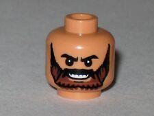 LEGO - Minifig, Head Beard Brown, Black Eyebrows & Grin with Teeth - Flesh