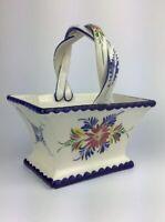 Vintage Rccl Hand Painted Ceramic Basket Signed 518 MJ Made in Portugal