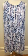 WITCHERY Blue White Mottled Sheer Crinkle Floaty Sleeveless Tank Tent Dress 14