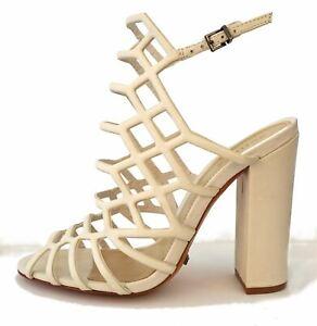 SCHUTZ 9.5 Jaden Pearl Off White Caged Leather Block Heel Sandals NIB