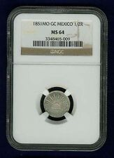 MEXICO REPUBLIC MEXICO CITY MINT 1851-MoGC 1/2 REAL COIN, CERTIFIED NGC MS64