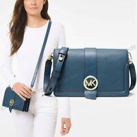 NWT 🌎Michael Kors MK Charm Triple Gusset Dark Chambray Blue Leather Crossbody