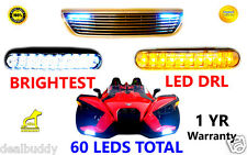 BMW White Fog Dual LED DRL Light + Amber Turn Signal -For Brightest OEM OE Style