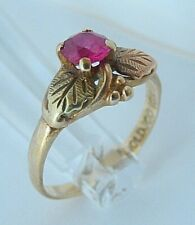 *VINTAGE* 10k Yellow & Rose Gold Leaves & Ruby Ring Womens Sz 8