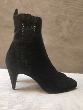 Maud Frizon Vtg 80s black suede leather ankle boots Beatle booties shoes 6-6.5
