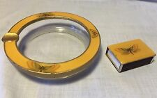 Vtg Enamel & Metal Matchbook Holder & Matching Set Glass Ashtray w Butterflies