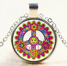 MANDALA Peace symbol Cabochon Tibetan silver Glass Chain Pendant Necklace#4104