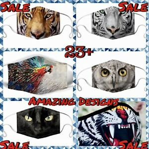 Face Mask Animals 3D Print Washable Reusable Teen Adult Cotton Mouth Covering Uk