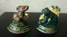 PAIR OF CAST IRON COLD PAINTED MOUSE AND FROG DOOR STOPS