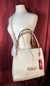 Pierre Cardin Geanta Beige Large Braided Satchel Crossbody Shoulder Bag Napoli