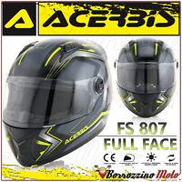 CASCO INTEGRALE ACERBIS FS-807 MOTO SCOOTER FULL FACE NERO GIALLO TAGLIA XL