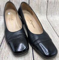 Salvatore Ferragamo Black Leather Slip On Pumps Cap Toe Shoes Women's Size 8 B