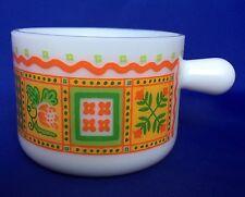 1970s VTG Avon Mug Milk Glass Patchwork Pattern Orange Green Yellow White Cup