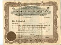 DELAWARE 1920 Zee Zee Tire & Rubber Company Stock Certificate Early Automotive