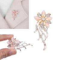 Fashion Crystal Opal Stone Gold Flower Bouquet Brooch Pin Wedding Bridal Gift