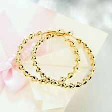 Classic 9K Yellow Solid Gold Filled Womens Braided Hoop Earrings,Z1905