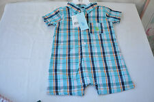 BABY BOY MULTI PLAID SUMMER JUMPSUIT US POLO ASSN SIZE 12 MONTHS BRAND W TAGS