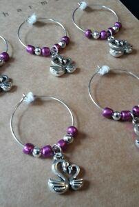 wine glass charm rings. set of 5. Swans. Purple gift set