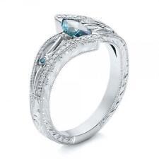 Wedding Faux Aquamarine Gemstone Band Jewelry Elegant Gift Women Crystal Ring LE
