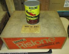 SEALED CASE OF 12  FULL VINTAGE RISLONE SNOWMOBILE OIL OLD 1QT METAL CAN SHALER