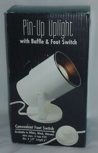 """Black Pin-Up Accent Uplight with Foot Switch & Baffle 6"""" x 4.25"""" NEW"""