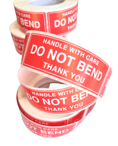 HANDLE WITH CARE DO NOT BEND  Stickers Labels 75mmx25mm -100pcs FLAT PACKED