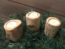New ListingWhite Birch Reclaimed Wood Lot of 3 Candle Holders Rustic Primitive Decor