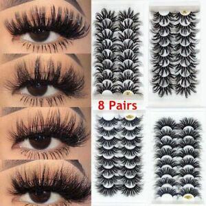 8 Pairs Wispies Fluffy 25MM Lashes False Eyelashes 4D Mink Eye Lash Extension