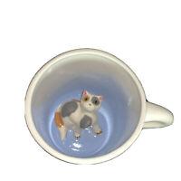 Sarah Spademan Pottery Surprise ANIMUG Calico Cat Coffee Mug/Cup & Paw Prints