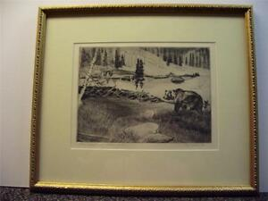 Don Crouch   Original Hand Signed   Etching  of Bear   Framed in Mint Condition