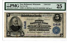 "1902 $5 Natl BN ""PB"" 1st NB New Richmond,WI  Fr# 606  Ch# 11412  PMG 25  19-C496"