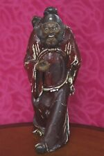 "Signed Vintage Chinese God Chung Kwei Pottery Statue Handmade 12"" Tall Red Glaze"
