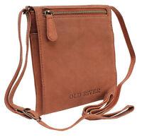 Kleine Old River Damen Leder Tasche Schultertasche Handtasche Überschlag braun