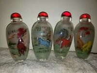 4 snuff bottles with reversed handpainted. Picture Of The Eight Fine Horse With