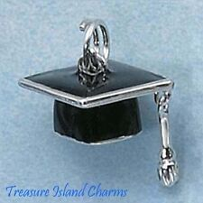 Enamel Black Graduation Cap With Movable Tassle .925 Sterling Silver Charm