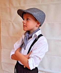 Victorian boy colonial boy costume kit cap hat braces neckerchief 3pc set -