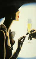 """36"""" vintage art painting print classy lady champagne advert poster satin photo"""
