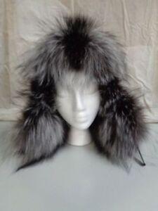 BRAND NEW SILVER FOX & BLACK LEATHER TOP FUR HAT EAR FLAPS WOMEN WOMAN SIZE ALL